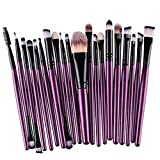 20 pcs/set Makeup Brush Set, Snowfoller Synthetic Foundation Powder Concealers Eye Shadows Lip Powder Liquid Cream Blending Brush Make-up Toiletry Kit Brush Tools (Purple)