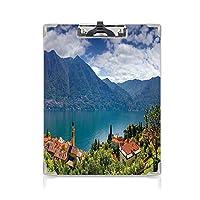 クリップボード A4 丘の上にあるモダンな山の村コモ湖イタリアンタウンヨーロッパの地中海の風景 子供の贈り物バインダー 多色 A4 タテ型 クリップファイル ワードパッド ファイルバインダー 携帯便利