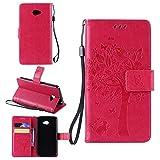 Sangrl Wallet Hülle Für LG K5 (2016), Mode PU-Leder Magnetisch Schliessen Schmetterling Handyhülle Mit Halterung Katze & Baum Geprägtes Design Hülle - Rose rot