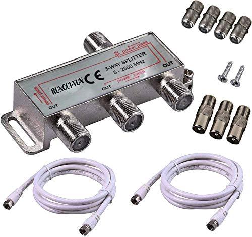 RUNCCI-YUN 3-Fach TV Radio F-Stecker Adapter Kabel Antennen Verteiler SAT Splitter Metall TV-Verteiler 5-2500MHz inkl. Adapter + Kabel + 3 x F Stecker auf Koax Stecker + 4 x F Buchse auf Koax Kupplung