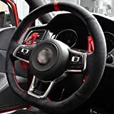 YHDNCG Cubierta de Volante de Coche Cosida a Mano, para Volkswagen VW Golf 7 GTI Golf R MK7 VW Polo GTI Scirocco 2015