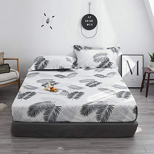 HPPSLT colchón Acolchado, antialérgico antiácaros, Sábana de algodón estampada-19_180 * 200cm