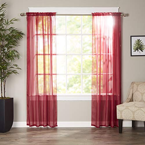 Elegant Comfort Luxury Sheer Curtains, Window Treatment Curtain Panels with Rod Pocket for Kitchen, Bedroom and Living Room (40 x 84-inches Long, Set of 2), Burgundy