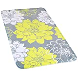 Wimaha Non-Slip Bath Mats Rugs, Extra Large, Super Soft, Water Absorbent Fast Dry, Microfiber Rug for Bathroom Shower, Tub, Bathtub, Kitchen, Bedroom, Hotel, 31 x 19, Peony Yellow Grey