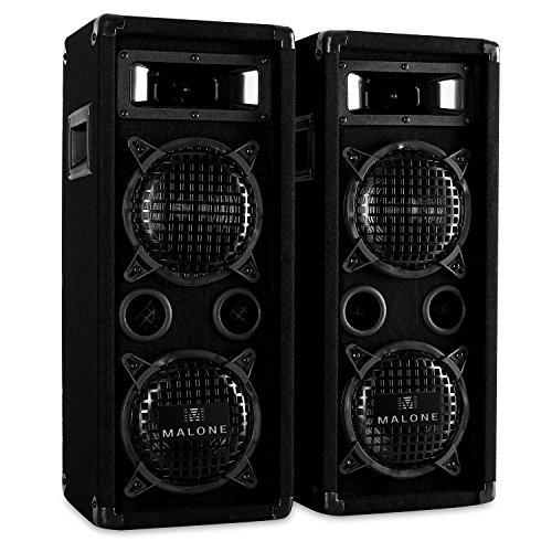 Malone PW-65X22 - Plus Edition, PA Lautsprecher Paar mit 2 x 600 Watt max. Leistung, 3-Wege-Boxen, Passive Fullrange Boxen, 80 Hz bis 18 kHz, Impedanz: 8 Ohm, Bassreflex-Bauweise, schwarz