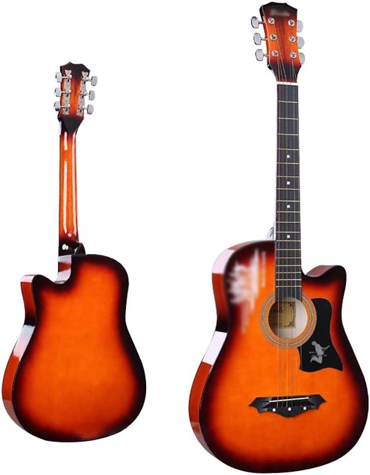 YYLL Guitarra 6 Cuerdas Guitarra Clásica, Guitarra acústica Cutaway Tilo Paquete, con el Caso y Accesorios (Tamaño: 38 Pulgadas) (Color : Orange)