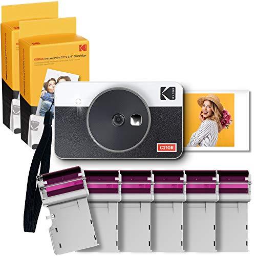 Kodak Mini Shot 2, Cámara Instantánea con Impresora y 68 Hojas, 54X86 Mm, Conexión Inalámbrica Bluetooth, Compatible iOS y Android, Tecnología 4Pass - Blanco