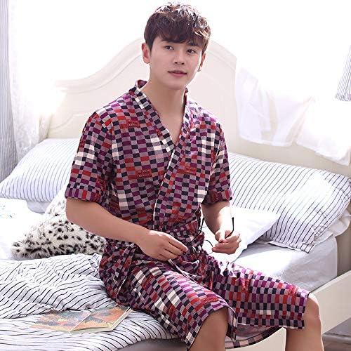 HUAIX HOME Peignoir à hommeches courtes en coton peigné pour hommes (Couleur   rouge, Taille   XL)