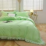 FADFAY Pom Pom Duvet Cover Full Size Light Green Bedding   Premium 100% Cotton 600 TC  Elegant Cute Tulle Ruffle Bedding Set Soft & Fade- Resistant Korean Style Zipper Comforter Cover Set 3 Piece