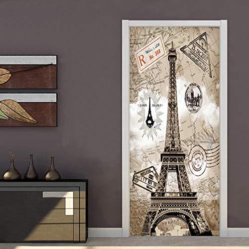 JYXJJKK Door Stickers Bedroom Living Room Eiffel Tower world map 90x210 cm Vinyl Boys Art Bedrooms Poster Room wall art Home Decor PVC Self Adhesive Diy door Poster Mural Waterproof Office Decal Wal