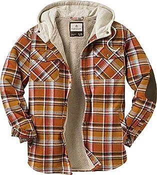 Legendary Whitetails Men s Standard Camp Night Berber Lined Hooded Flannel Shirt Jacket Arrowood Barnwood Plaid Medium
