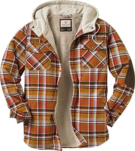 Legendary Whitetails Men's Standard Camp Night Berber Lined Hooded Flannel Shirt Jacket, Arrowood Barnwood Plaid, Large
