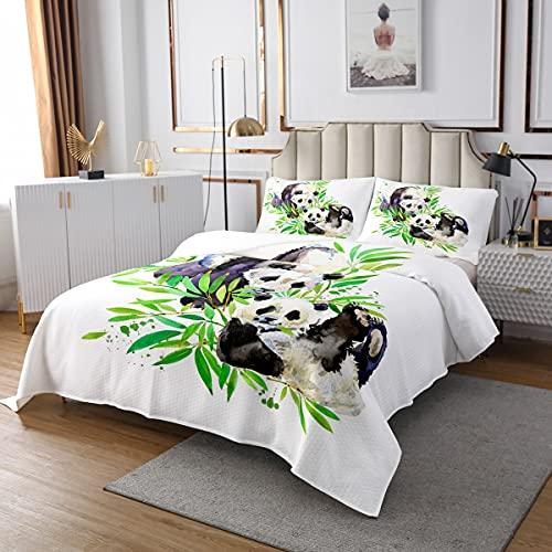 Panda Steppdecke Niedliches Tiermuster Tagesdecke 240x260cm für Kinder Teenager Aquarell Panda Bär Bettüberwurf Schlafzimmer Dekor Bambus Weiß Zimmer Dekor 3St