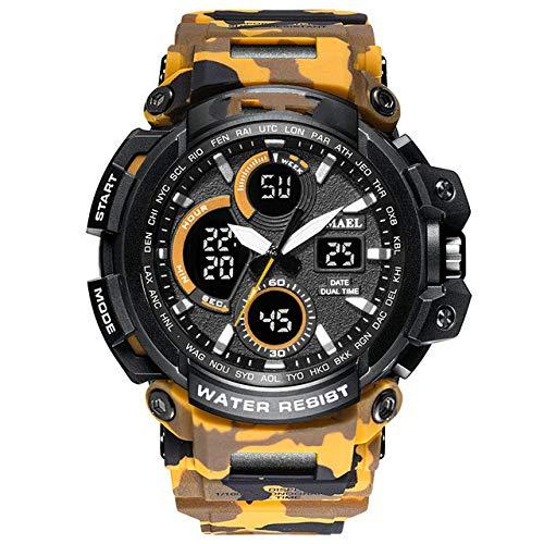 Reloj Militar De Camuflaje, Reloj De Pulsera Deportivo Impermeable para Hombre con Pantalla De Doble Hora, Relojes De Cuarzo Analógico Digital para Hombre A Camo Naranja