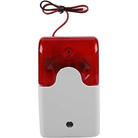 DC 12 V Sirena Estroboscópica con Cable Luz Intermitente Alarma de Sonido Luz Roja Sirena de Sonido Sistema de Alarma de Seguridad para el Hogar
