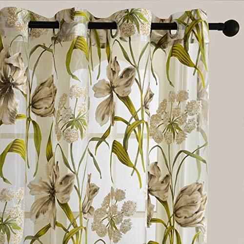 Ctobb korte gordijnen transparant voor woonkamer, keuken, badkamer, deur, raam met bloemenpatroon, tule, bloemen en bladeren, L 100 x H 130 cm
