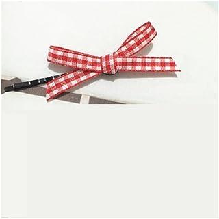 Osize 美しいスタイル チェックボウヘアクリップワンワードクリップサイドクリップヘアピンヘアアクセサリー(レッド)