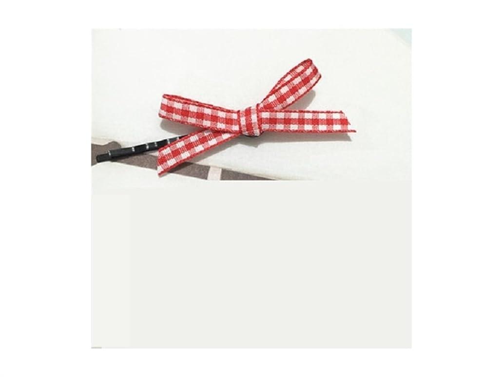 経歴自宅で書き込みOsize 美しいスタイル チェックボウヘアクリップワンワードクリップサイドクリップヘアピンヘアアクセサリー(レッド)