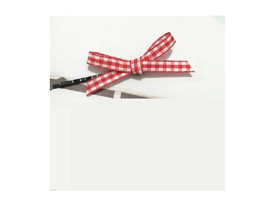贅沢触手鮫Osize 美しいスタイル チェックボウヘアクリップワンワードクリップサイドクリップヘアピンヘアアクセサリー(レッド)