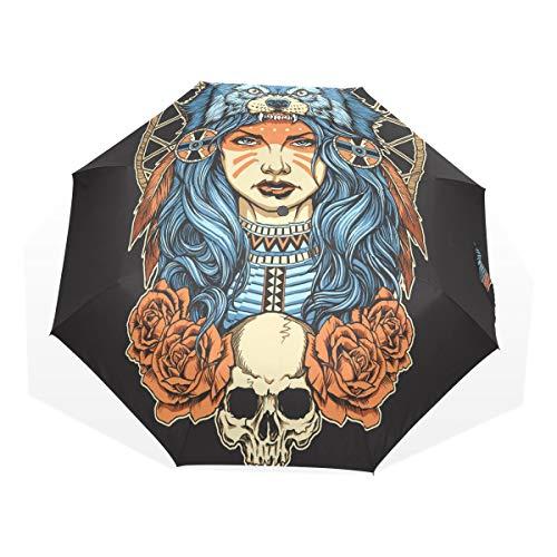 Regenschirm 3 Falten anpassen Schädel Wolf Kopfschmuck Anti-UV Windproof Lightweight