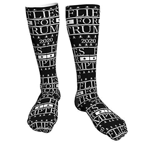 WANZHOU Unisex-Strümpfe, Fliegen für Trump 2020 Mike Pence Debatte Sport Dicker schwarzer High Heel Socken Knie bis Oberschenkel (50 cm)