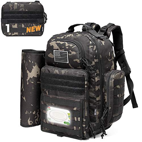 Diaper Bag Backpack for Dad, DBTAC Tactical Travel Baby Nappy Bag for Men w/Changing Pad, Insulated+Wipe Pockets, Stroller Straps, Black Camo