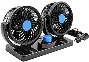 AboveTEK 360 Degree Rotatable Car Fan - 12V DC Electric 2 Speed Dual Head Fans, Quiet Strong Dashboard Cooling Air Circulator Fan for Sedan SUV RV Boat Auto Vehicles Golf or Home