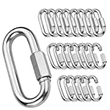 """20Pack Quick Link, 3/16""""Chain Link with 330lbs Loading, Stainless Steel Locking Carabiner Clip, Oval Keychain Connector Small Threaded Chain Clip for Dog Leash, Backpacks, Key Ring, Water Bottles"""