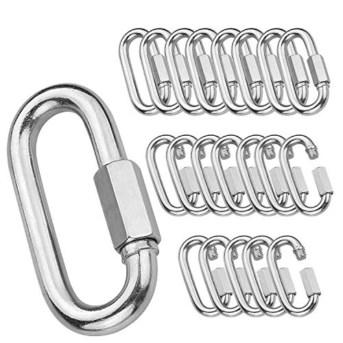 "20Pack Quick Link, 3/16""Chain Link with 330lbs Loading, Stainless Steel Locking Carabiner Clip, Oval Keychain Connector Small Threaded Chain Clip for Dog Leash, Backpacks, Key Ring, Water Bottles"