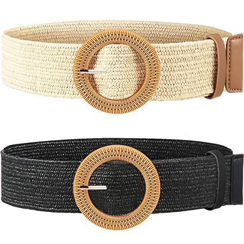 Cinturón elástico de paja para mujer, 2 piezas, con hebilla de madera