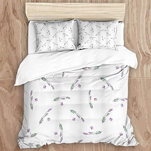 JINGGANGSHAN Bedding Set 3D Print for Duvet Cover Set 2 Pillowcases,Lavender Curvy Herbal Stems Healing Aroma Nature Inspired Artwork in Watercolors, King Size