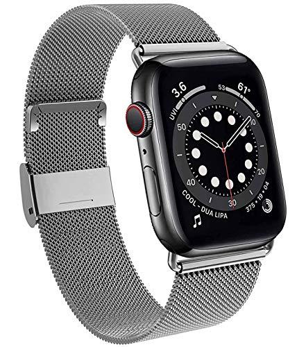 DEOU Cinturino Acciaio Compatibile con Apple Watch Cinturino 38mm 40mm 42mm 44mm, Magnetico Cinturini di Ricambio Traspirante per iWatch SE Series 6 5 4 3 2 1 (42/44 MM, Grafite)
