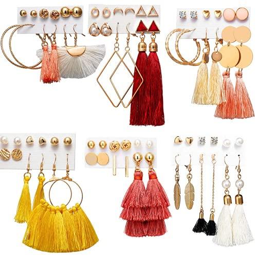 Kudiro Juego de 38 piezas de joyería de oro con 4 collares, 10 pulseras, 24 pendientes colgantes de bola en capas para mujeres y niñas, joyería de moda y regalo de fiesta de cumpleaños de San Valentín