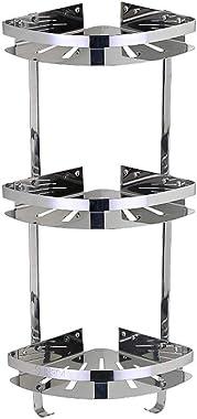 LifxX 304 Stainless Steel Storage Stand Hanging Shampoo Bathroom Corner Shelf 3 Tier Shower Caddy Wall Mounted Holder Mirror-