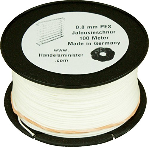 Handelsminister.com Jalousieschnur Plisseeschnur 100m Zugschnur für Plissee Raffrollo Jalousie Ersatzschnur, Farbe:weiß, Durchmesser:0.8mm