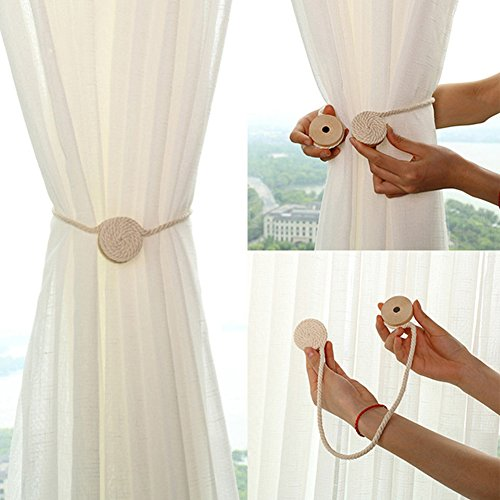 Qling 2 Stück magnetische Vorhang-Klammern im Pastorale-Stil r& Holz Ball Baumwolle Seil Raffhalter Vorhang Raffhalter Schnalle für Zuhause Büro Dekoration, beige, Free Size