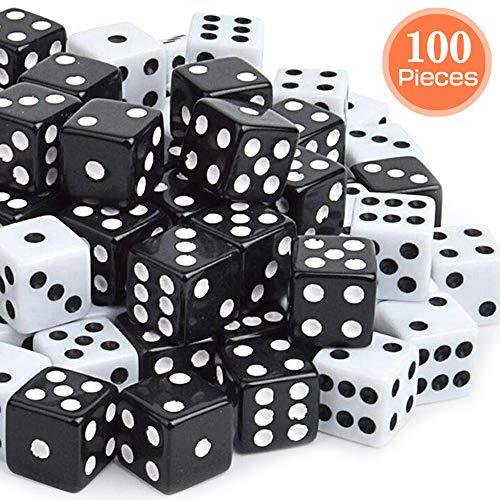 PowerKing Set di Dadi,100 Pezzi Nero Bulk Game Dices per Gioco di Dadi Tensies, Gioco da Tavolo, Gioco di Matematica, bomboniera, Angolo Rotondo a 6 Lati da 16 mm (Nero)