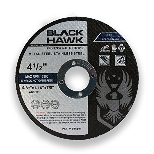 "BHA Metal and Stainless Steel Cut Off Wheels for Angle Grinders, 4.5"" x 1/16"" x 7/8"" - 25 Pack"