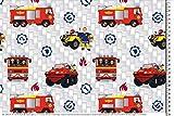 PWSE Baumwoll Jersey Stoff Feuerwehrmann Sam weiß Auto ab