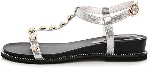 Sandales d'été pour étudiants étudiants femme plat avec des femmes pantoufles mot chaussures boucle sandales à bout ouvert et des pantoufles sandales perle