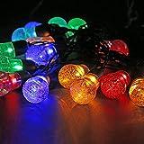 OKESYO Guirnalda de luces solares LED para exteriores, 5 m, 20 ledes, resistente al agua, para decoración de Navidad, multicolor