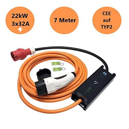 Tragbare Mobile Wallbox EVSE Ladegreät Ladestation | 22KW | 32A | 3 Phasig | CEE 5 Pin zu Typ 2 | 7 Meter | Tragetasche