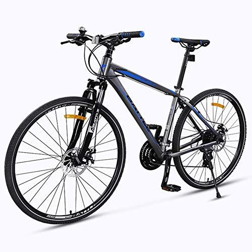 Xiaoyue Adult Rennrad, 27 Geschwindigkeit Fahrrad mit Federgabel, Mechanische Scheibenbremsen, Quick Release Stadt-Pendler-Fahrrad, 700C, Grau lalay (Color : Grey)