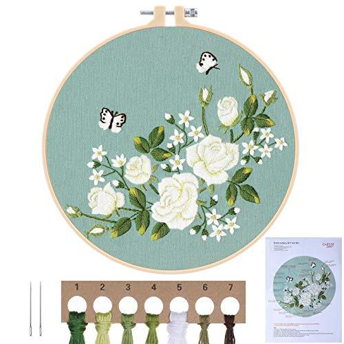 MWOOT Kit de Inicio de Bordado con Patrón e Instrucciones,Cross Stitch Kit de Herramientas de Inicio de Bordado para Principiantes (Rosa Blanca 1)