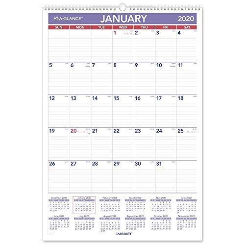 AT-A-GLANCE 2020 Monthly Wall Calendar, 15-1/2 x 22-3/4, Large, Wirebound (PM328)