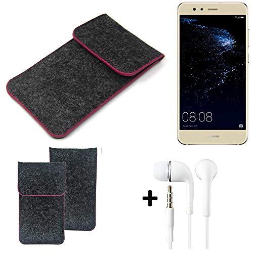 K-S-Trade Filz Schutz Hülle Für Huawei P10 Lite Dual-SIM Schutzhülle Filztasche Pouch Tasche Handyhülle Filzhülle Dunkelgrau Rosa Rand + Kopfhörer