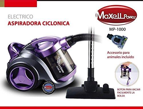 MAXELLPOWER Aspirador aspiradora ciclónico sin Bolsa Filtro hepa Boquilla Animales Incluido 1000W de Potencia Exclusiva para Clientes