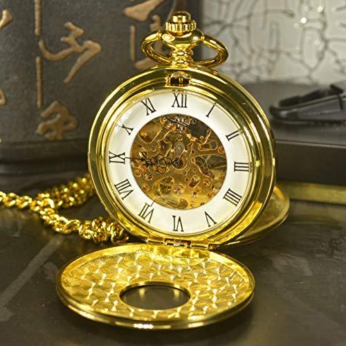 ERDING Pocket Horloges, Jubileum Dag,Dubbele Gezicht SteampunkMen Antieke Ketting Ketting Gouden Pocket & Horloge Skeleton Mechanische Pocket Horloges