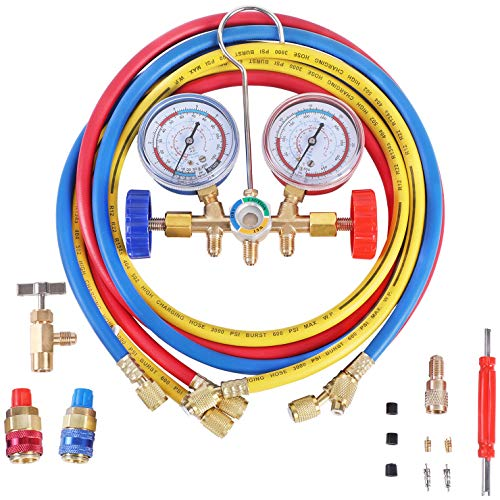 N / A YSTOOL 3 Way AC Manifold Diagnostic Gauge Refrigerant Charging Set for Air Conditioner HVAC R134a R404a R22 R12 Freon with 5FT Hose R134a Quick Couplers Can Tap Acme Adapter Valve Core Tool Kit