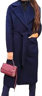 Howely Women Elegant Notched Lapel Long Woolen Fall Winter Top Coat Jacket